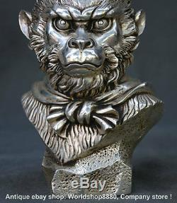 10Old Chinese Buddhism Silver Sun Wukong Monkey King Head Bust Statue Sculpture