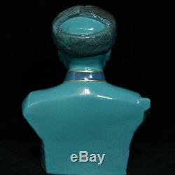 12 Chinese Turquoise Glaze Porcelain Lei Feng liberation army Head Bust Statue
