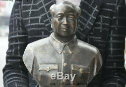 18 China old bronze Great Leader Chairman Mao Zedong Man Head Bust Statue