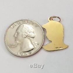 18K Yellow Gold Florence Italy Statue David Head Bust Charm Pendant 3.2 gr