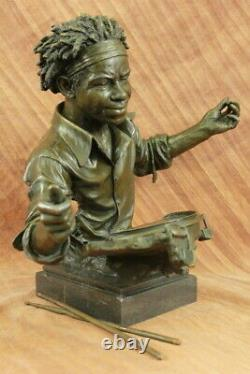 19 Inch Wide Bronze Jazz Drum Player Head and Bust Statue Signed Original Dwight