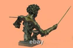 19 Inch Wide Bronze Jazz Drum Player Head and Bust Statue Signed Original Figure