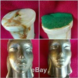 2 Antique Art Deco Style Lady Head Bust Statue Metal Marble Bookends