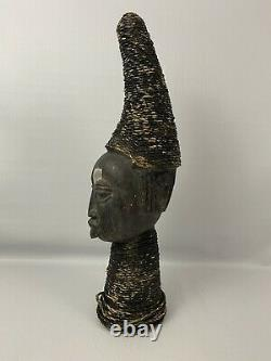 22 Authentic AFRICAN Tribal Wood Carved Head Bust Statue Art Rope Embellished