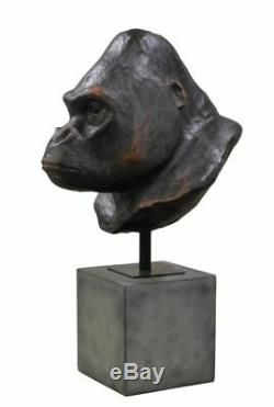 23H Replica African Silverback King Kong Gorilla Primate Ape Head/Bust on Stand