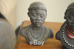 3 Black South African Tribesman Bust Head Figure Statue Sculpture Pottery Clay