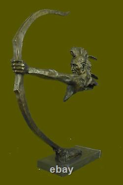 32 100% Pure Bronze Indian Head Bust with Arm Shooting Bow Statue European Art