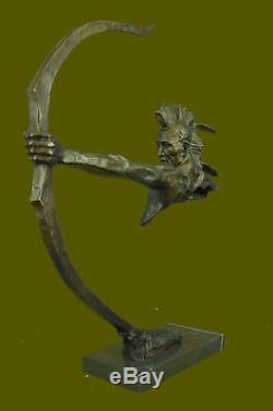 32 100% Pure Bronze Indian Head Bust with Arm Shooting Bow Statue European LRG