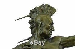 32 Inch 100% Pure Bronze Indian Head Bust with Arm Shooting Bow Statue European