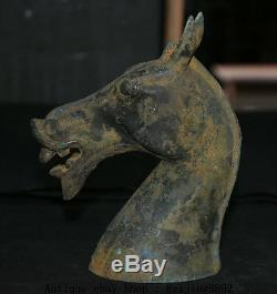 7 Collect Chinese Old Antique Bronze Tang War Horse Head Bust Statue Sculpture