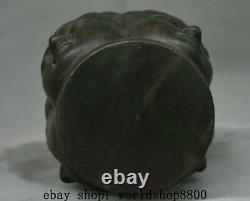 8 Old Chinese Black Wood Carving Four Face Kwan-Yin Guan Yin Head Bust Statue