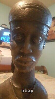 ANTIQUE RARE African Woman Wood Sculpture BUST Head Hand Carved SIGNED by artis