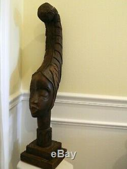 ANTIQUE / VTG African Woman Wood Sculpture BUST Head Hand Carved Statue 33