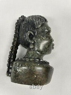 African Bust Head Stone Carved Vintage Sculpture Tribal Statue Figurine 1800's
