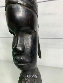African Hand Carved Ebony Wood Female Head Statue Bust, 9 1/2 X 2 X2.5Vintage