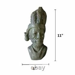 African Pair Carved Head Bust Wood Vintage Hand Tribal Art Statue Heads Museum