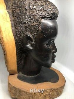 African Wood Carved Statue Tribal African Male Head Bust Solid Wood Statue