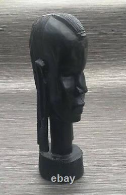 Antique African Tribal Ebony Wooden Carved Female Head Bust