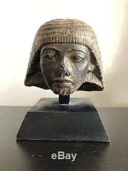Antique Archaic Repro Egyptian Head of Paramessu Bust Art Mounted Relic Statue