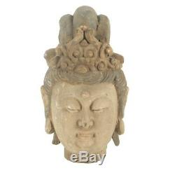 Antique Chinese Carved Wooden Buddhist Buddha Bust Head 16