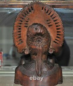 Antique Hand Carved Mid Century Bali Head Bust Statue 14x8