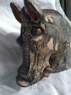Antique Old Chinese China Art Pottery Horse Head Statue Bust Asian Art Painted