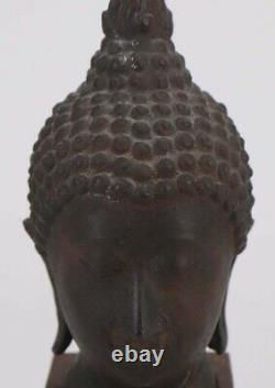 Antique Thai Buddha Bust, Metal Head Mounted To Wooden Base, 100+ yrs, Exce