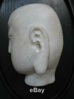 Antique Very Old Chinese Hand Carved Marble Buddha Guan Yin Bust Head