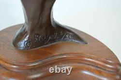 Bronze Horse Head Bust Signed Royal 2/25 Equestrian Riding Statue Wood Base Vtg