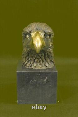 Bronze Marble Statue Eagle Head Bust Military Army Air Force Marine Colonel Gift