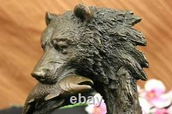 Bronze Sculpture Statue Bear Head Bust With Fish Marble Handcrafted Figurine Ar