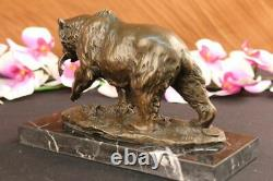 Bronze Sculpture Statue Bear Head Bust With Fish Marble Handcrafted Figurine Art
