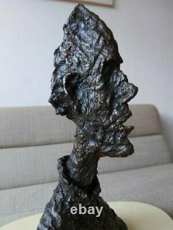 Bronze Sculpture Statue Bust Head Man Diego after GIACOMETTI Signed Number