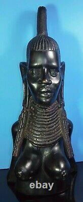 Carved Wood TRIBAL African Woman Bust TOP KNOT Head Black Figure Statue 20 Tall