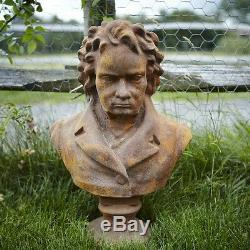 Cast Iron Rust Beethoven Statue/Ornament/Bust Feature/Art/Head/Gift