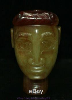 China Natural Hetian Green Jade Carving Man People Person Head bust Statue