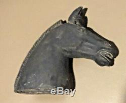 Chinese Horse head bust clay incised Pottery Terra-cotta 7 Sculpture Tang War