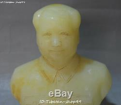 Chinese Old Jade Gilt Carving Leader Chairman Mao Zedong Man Head Bust Statue