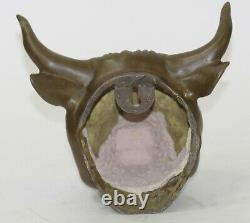 Cow Bull Head Wall Bust Mount Statue Antique Style Genuine Pure Bronze Country