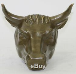 Cow Bull Head Wall Bust Mount Statue Antique Style Genuine Pure Bronze Figure