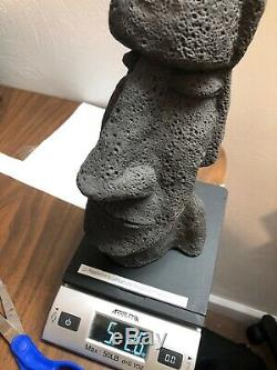 EBONY CARVED AFRICAN TRIBE TRIBAL ART HEAD BUST STATUE DECO Large 12 In Tall