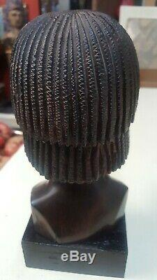 Excellent Ebony Iron Wood Carving of African Female Tribal Head Bust Statue