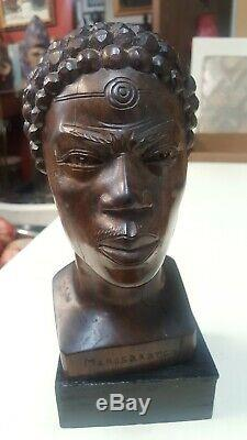 Excellent Ebony Iron Wood Carving of African male Tribal Head Bust Statue