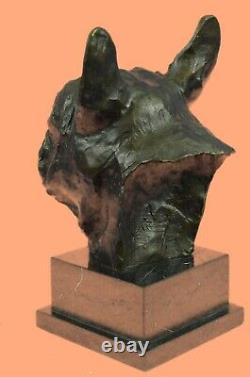 French Bulldog Head Bust Signed Sculpture Statue Figure Collectible Dog Art Deco