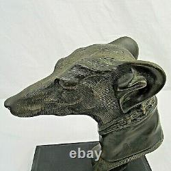Greyhound Whippet Dog Bust Head Statue Bookends Fireplace Ornament Bronzed