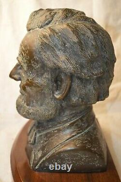 H. H Robinson Signed Abraham Abe Lincoln Solid Bronze Bust Head Union Is Saved