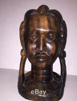 Hand Carved AFRICAN TRIBAL WOMAN HEAD Ebony Wood Statue Bust Female Lady