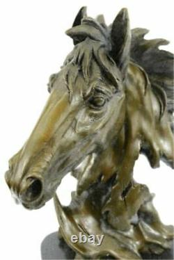 Handcrafted Horse Lovers Real Bronze Horses Head Bust Sculpture Equestria Statue