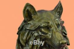 Handmade Bronze on Marble Dire Wolf Head Bust Sculpture Statue Game of Thrones
