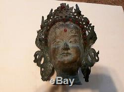 Heavy Brass Hindu Goddess Statue Head Figurine Face Bust Lady Indian 15x11
